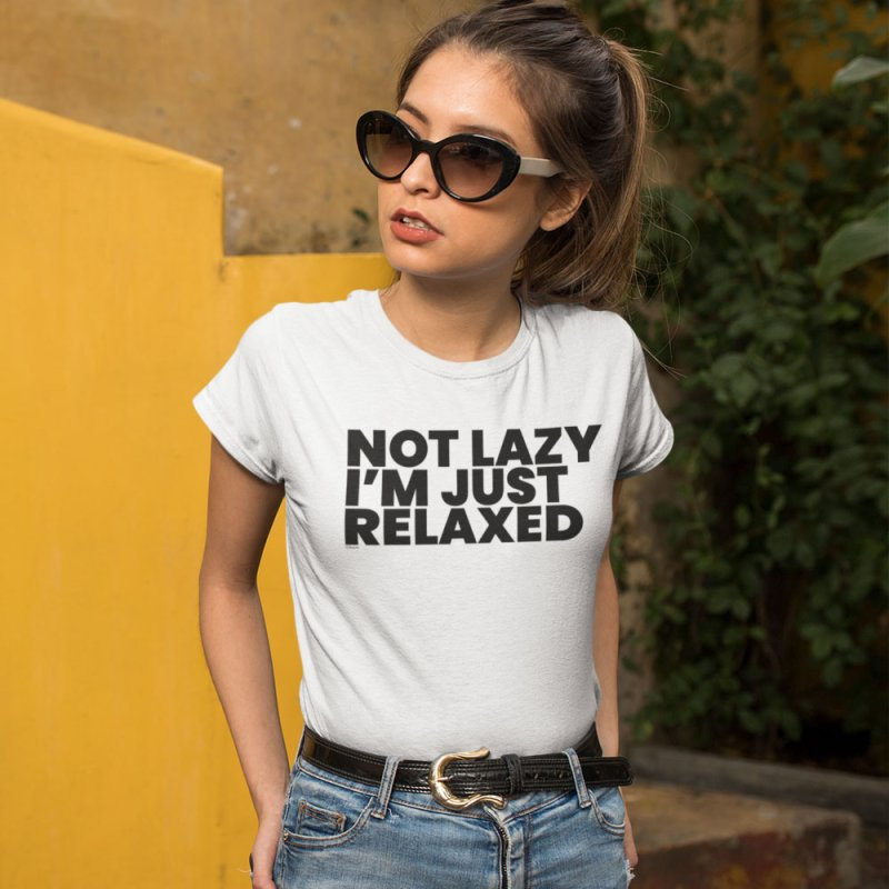 Not Lazy I'm Just Relaxed in Men's Extra Soft T-Shirt White by BLAZOND