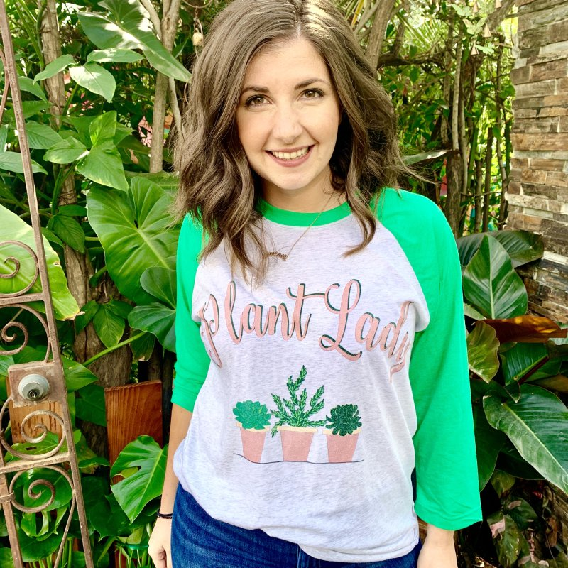 Plant Lady in Women's Baseball Triblend Longsleeve T-Shirt Tri-Kelly Sleeves by Bloom & Grow Radio Shop
