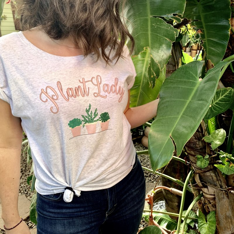 Pink Plant Lady in Women's Dolman Scoop Neck Heather White by Bloom & Grow Radio Shop