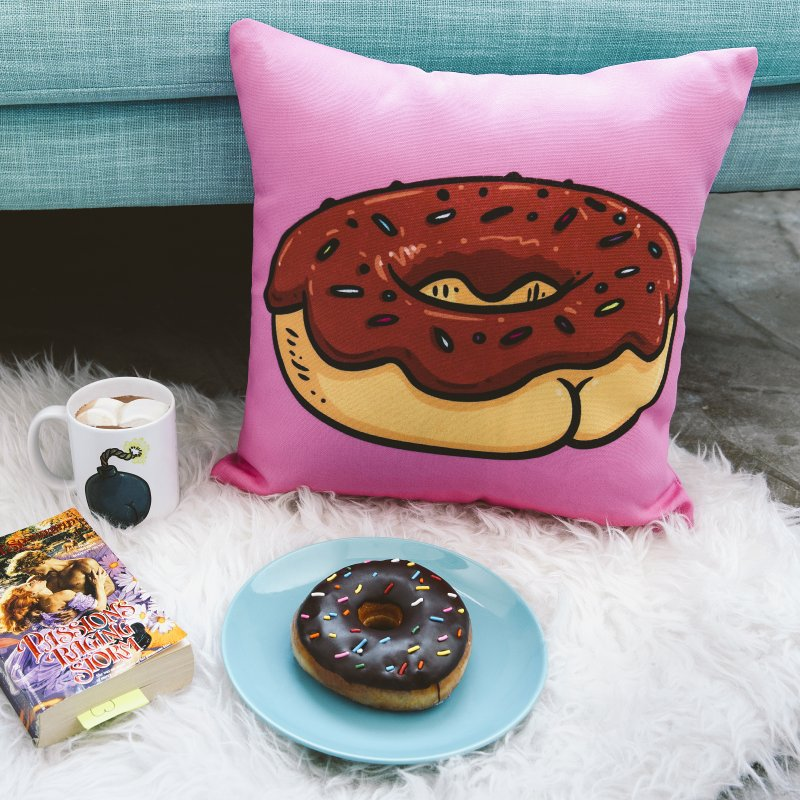 Donut Butt in Throw Pillow by Brian Cook
