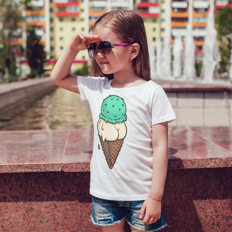 Ice Cream Butt in Kids T-Shirt White by Brian Cook