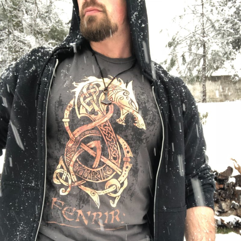 Gold Fenrir Wolf by Celtic Hammer Club Apparel