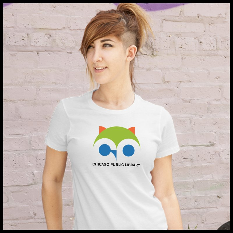 CPL Owl in Women's Fitted T-Shirt White by Chicago Public Library Artist Shop