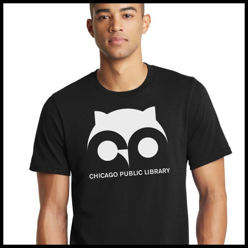 CPL Owl Reverse in Men's Regular T-Shirt Black by Chicago Public Library Artist Shop