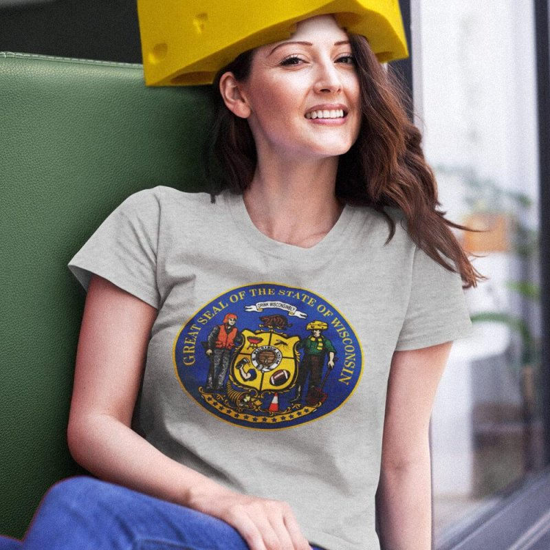 Great Seal of the State of Wisconsin in Men's Triblend T-Shirt Grey Triblend by Curly & Co.
