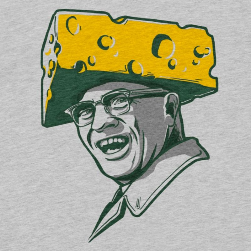 Cheesehead Vince in Men's Extra Soft T-Shirt Heather Grey by Curly & Co.