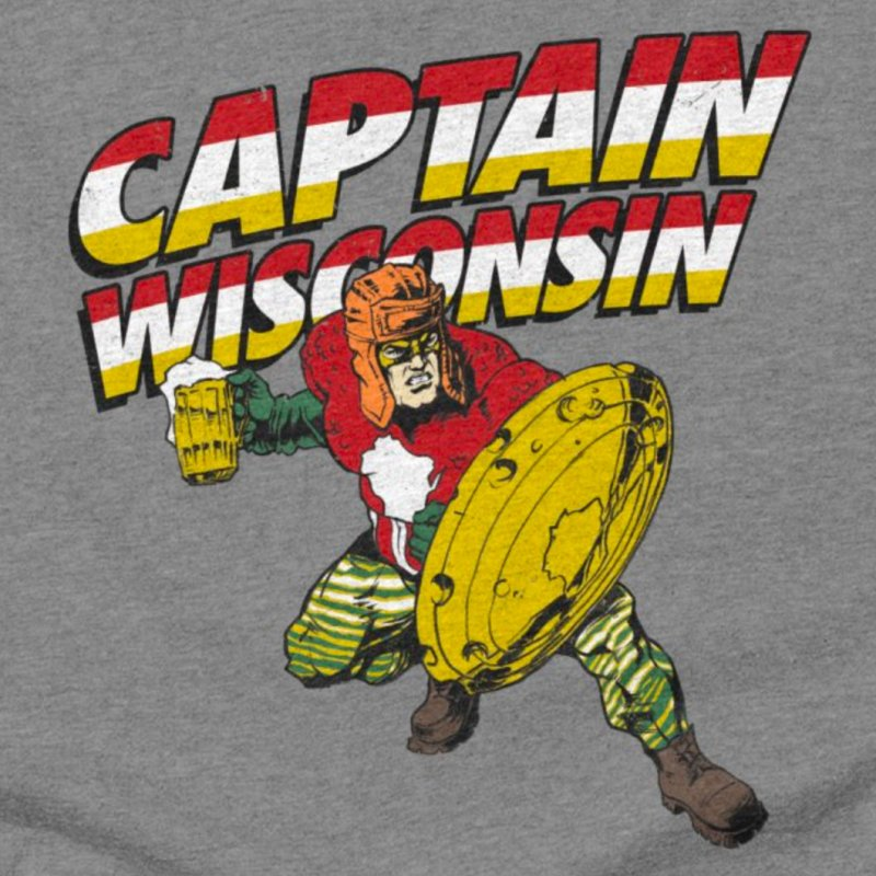 Captain Wisconsin in Men's Triblend T-Shirt Grey Triblend by Curly & Co.