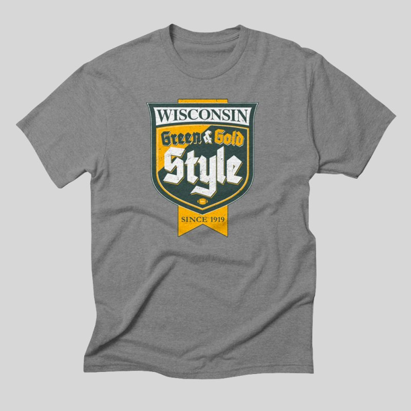 Green & Gold Style in Men's Triblend T-Shirt Grey Triblend by Curly & Co.
