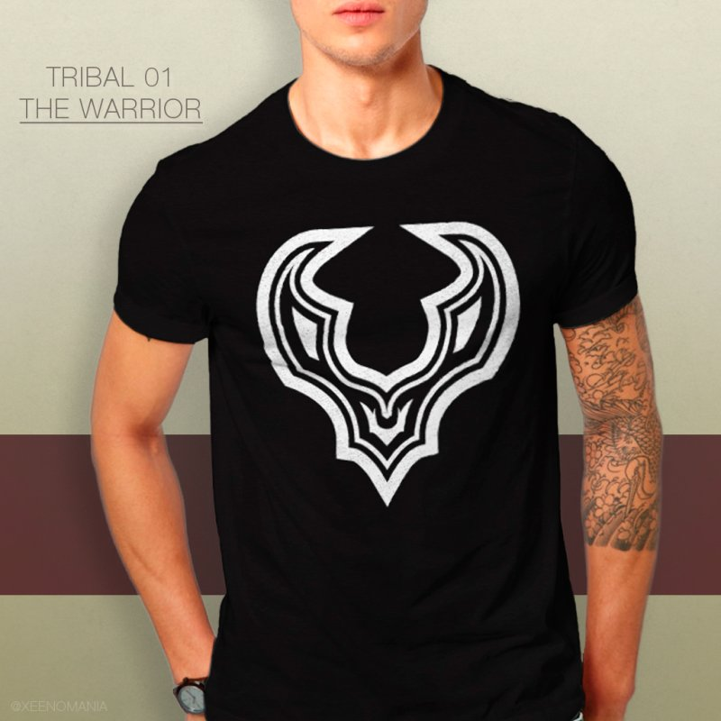 Tribal 01 - The Warrior in Men's Heavyweight T-Shirt Black by The Cute Online Shop by Xeenomania