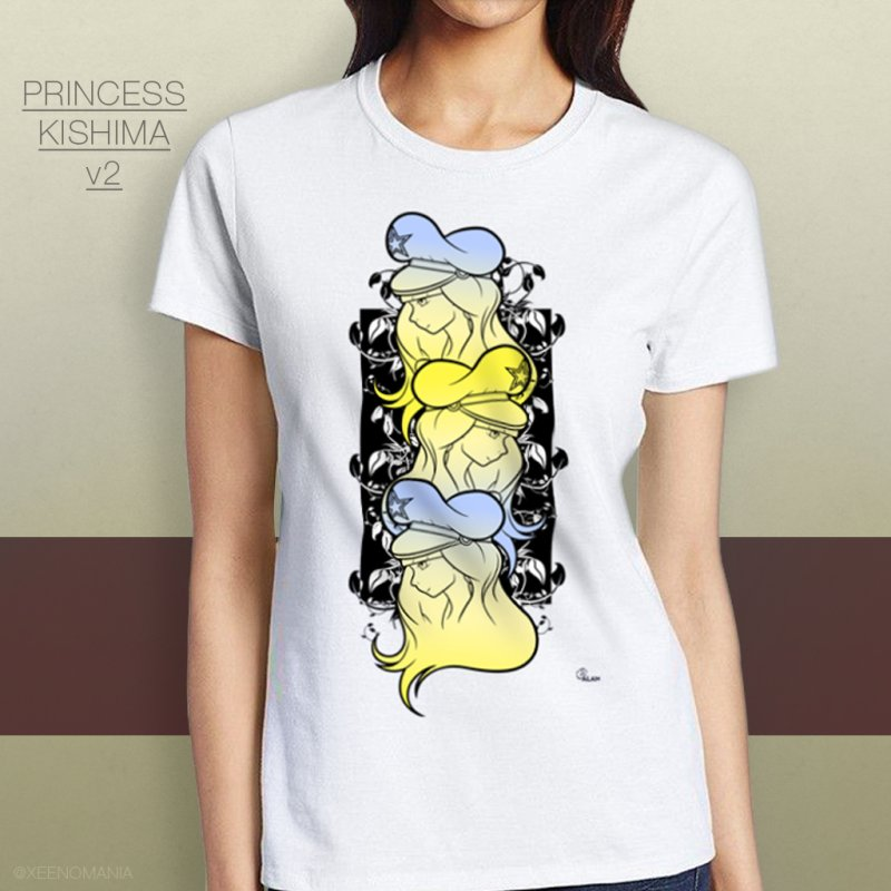 Princess Kishima v2 in Women's Fitted T-Shirt White by The Cute Online Shop by Xeenomania