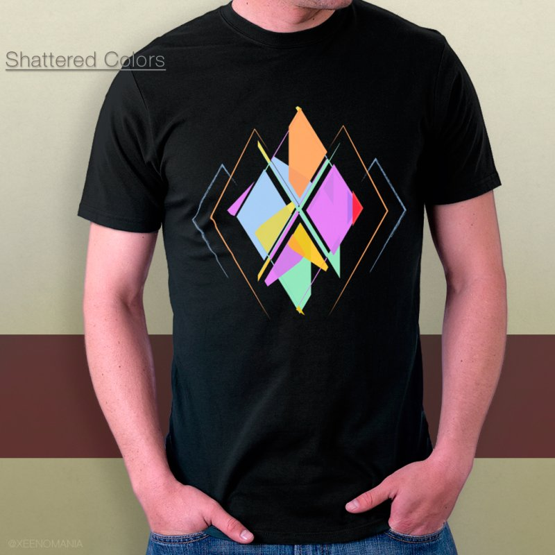 Shattered Colors in Men's Regular T-Shirt Black by The Cute Online Shop by Xeenomania