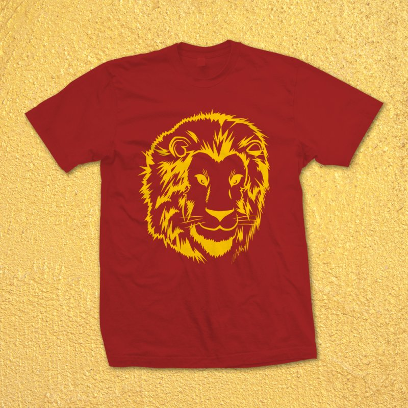 Yellow lion in Men's Heavyweight T-Shirt Red by Synner Design