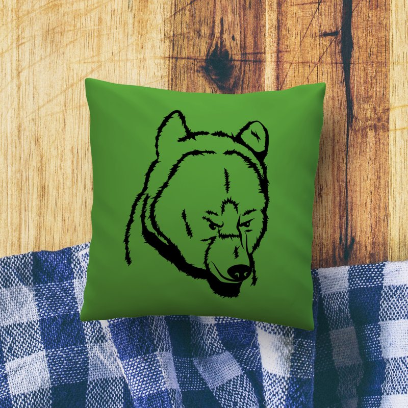 Black Bear in Throw Pillow by Synner Design