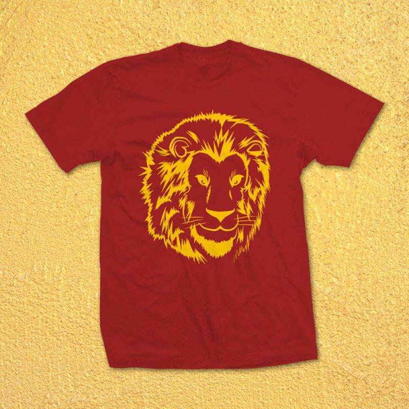 Yellow lion in Men's Regular T-Shirt Scarlet Red by Synner Design