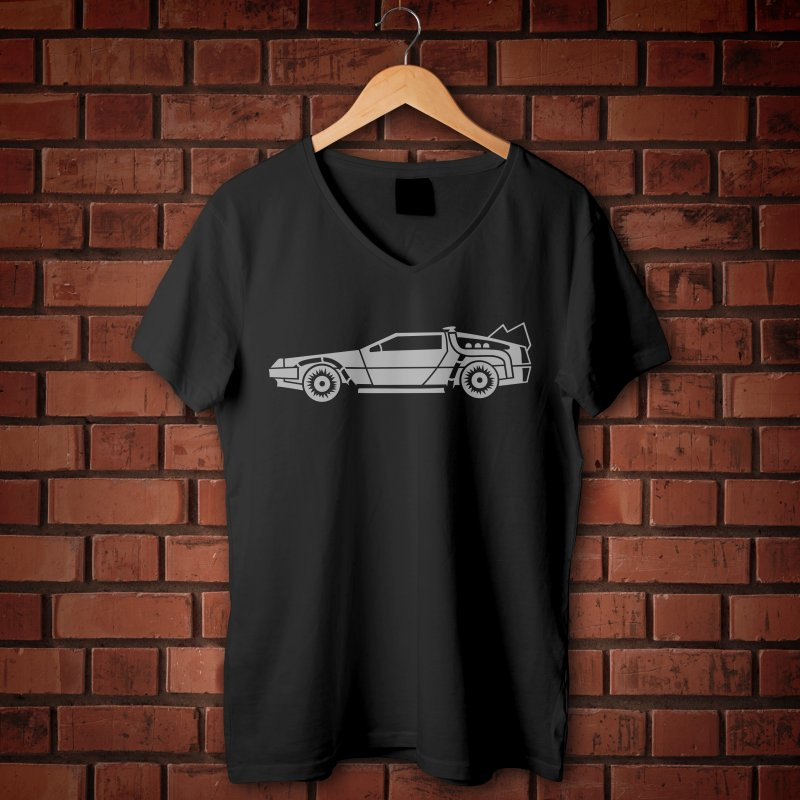 Delorean in Men's Regular V-Neck Black by Synner Design