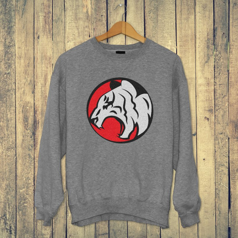 Fierce tiger in Men's French Terry Sweatshirt Heather Graphite by Synner Design