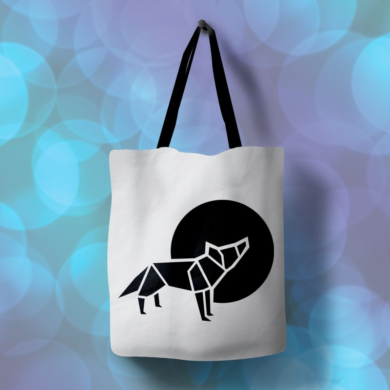 Black wolf origami in Tote Bag by Synner Design