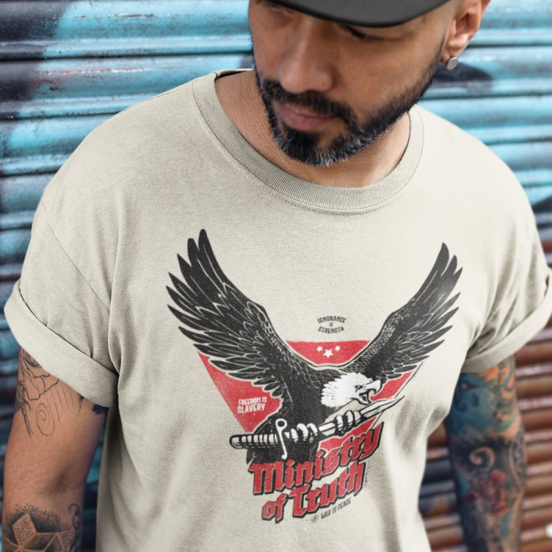 Ministry of Truth in Men's Regular T-Shirt Heather Grey by Propaganda Department