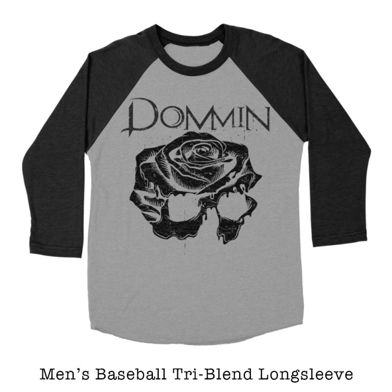 Black Rose Skull in Men's Baseball Triblend Longsleeve T-Shirt Heather Onyx Sleeves by Dommin's Shop