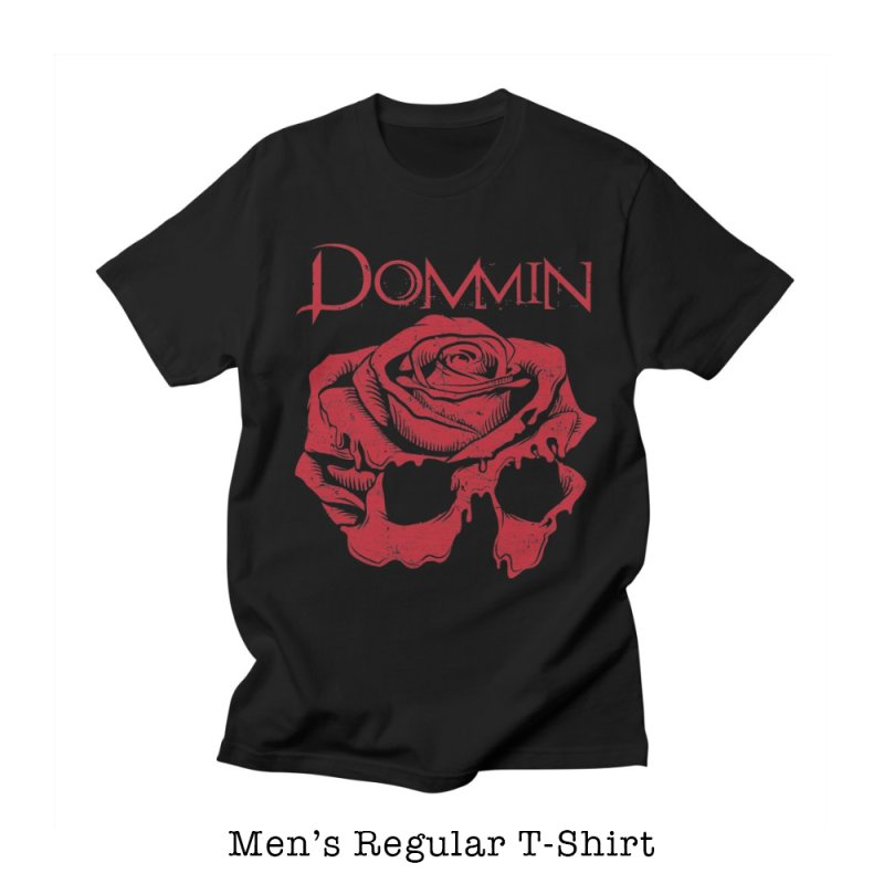 Red Rose Skull in Men's Regular T-Shirt Black by Dommin's Shop