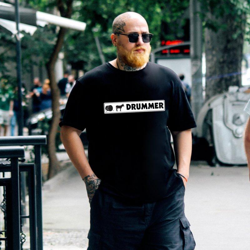 Kick Ass Drummer - White Rectangle Logo by Drum Geek Online Shop