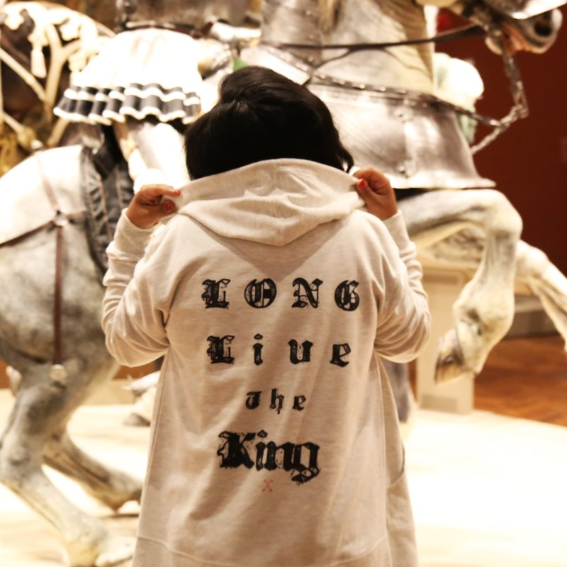 LONG LIVE THE KING in Women's Zip-Up Hoody Heather Oatmeal by drybonesrising's Shop