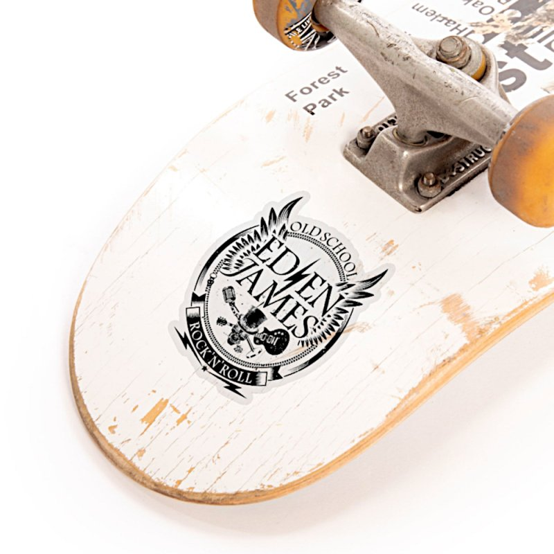 Old School Rock 'N' Roll - Sticker - Black on White/Clear in White Sticker by Eden James Merch Shop