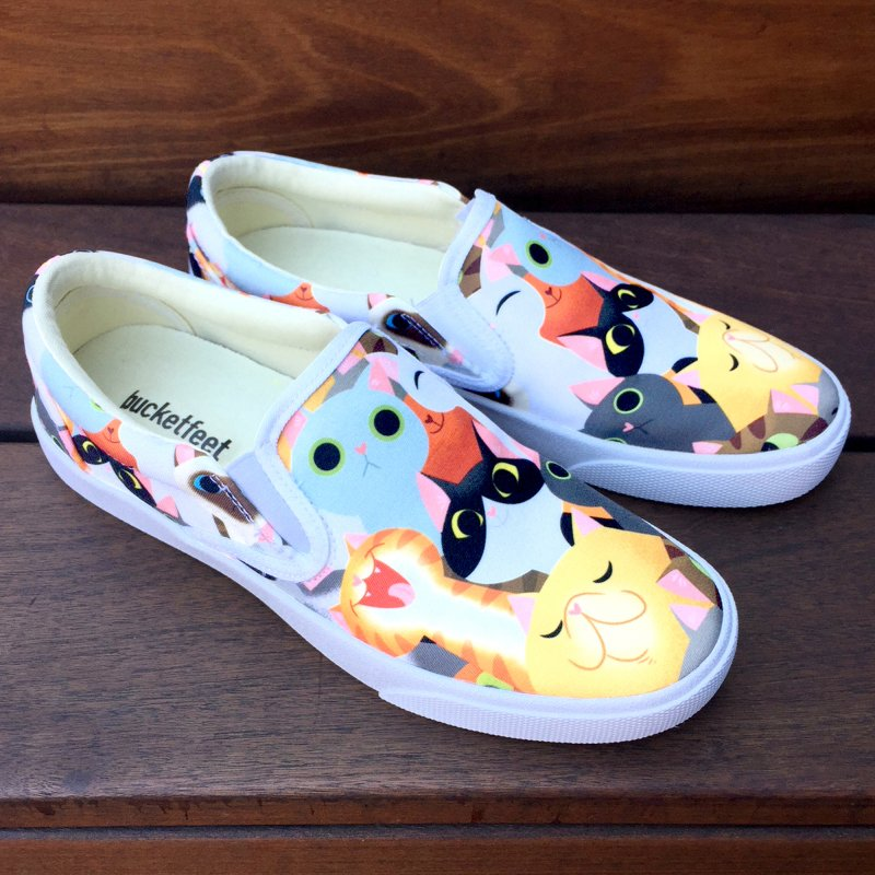 Cat Crowd Sneakers in Women's Slip-On Shoes by ElsaSketch Shop
