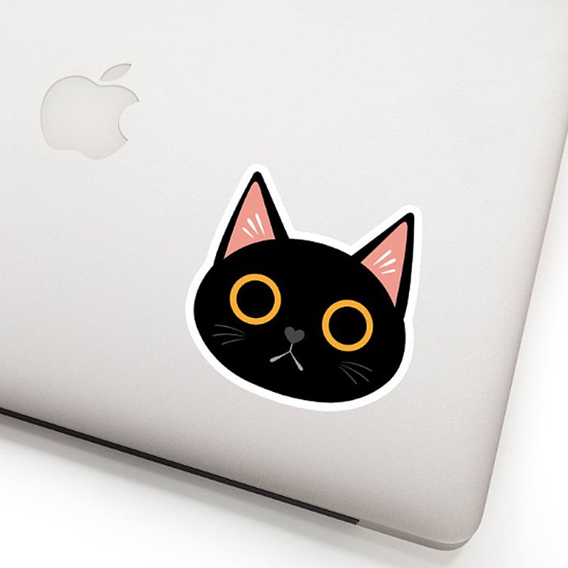 Black Cat Sticker in White Sticker by ElsaSketch Shop