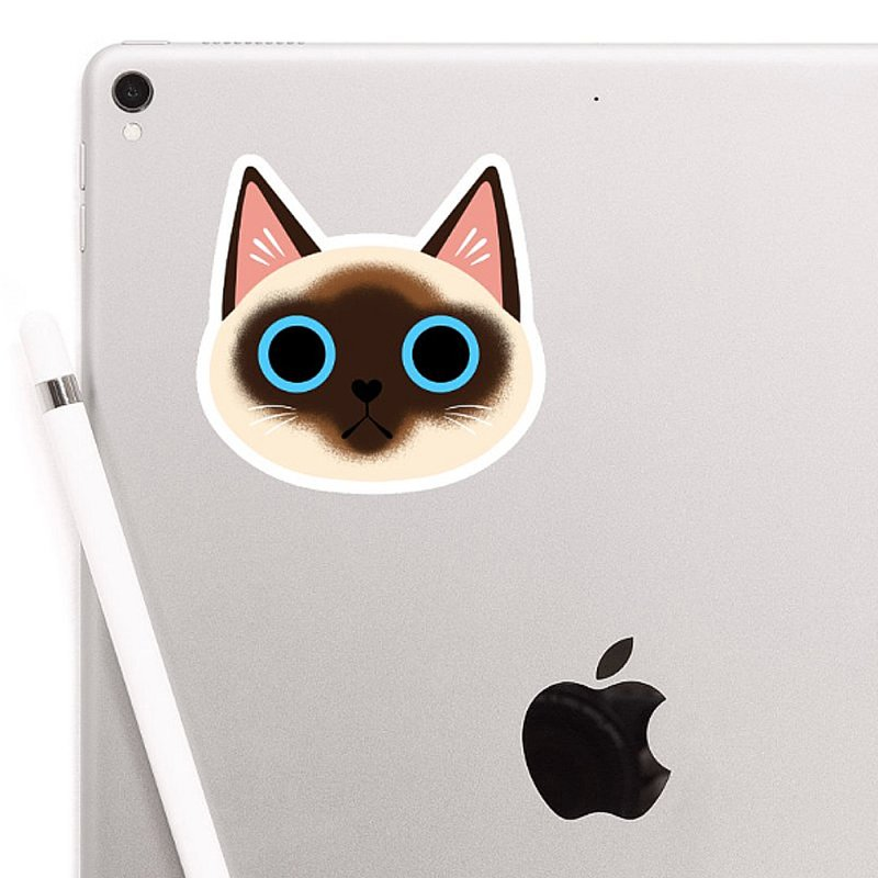 Siamese Cat Sticker in White Sticker by ElsaSketch Shop