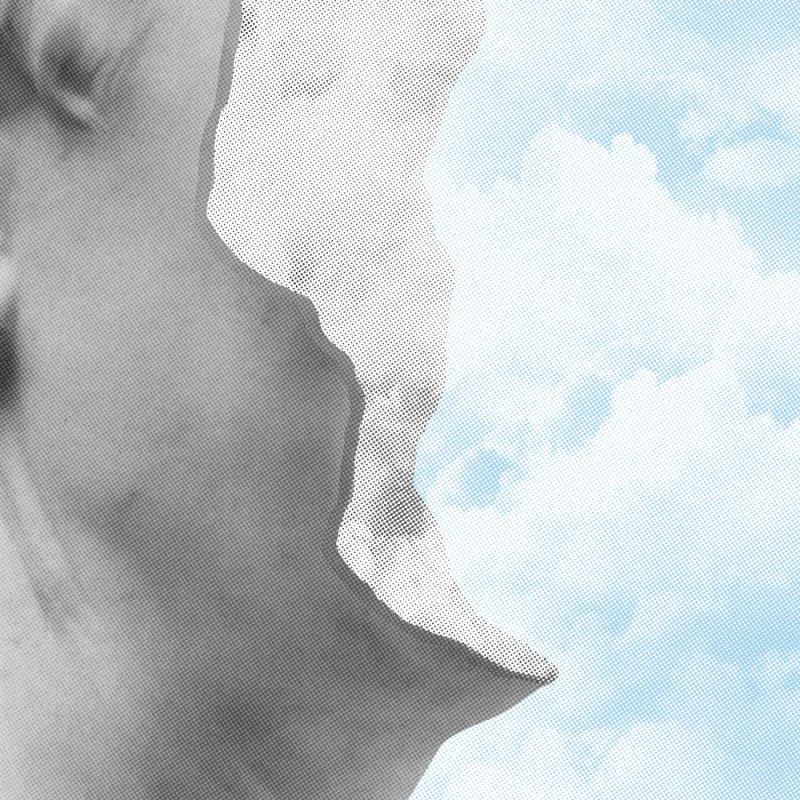 Clouds In My Head in Men's T-Shirt Light Blue by Eric Zelinski (EZFL)