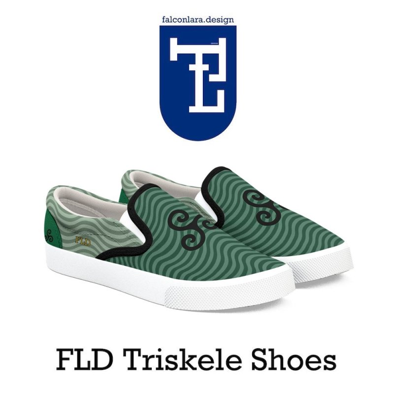 FLD Triskele Emblem in Men's Slip-On Shoes by falconlara.design shop