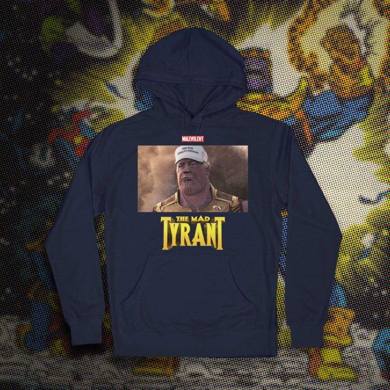 The Mad Tyrant (White) in Men's Pullover Hoody Navy by FWMJ's Shop