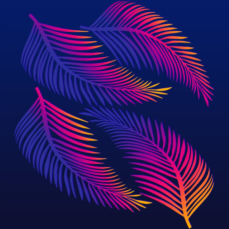 Neon Leaves by Glitchway Store