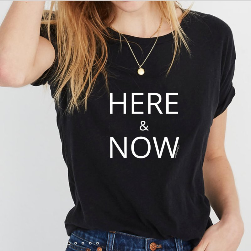 Here and Now in Women's Triblend T-Shirt Heather Onyx by Glow-Getters Store