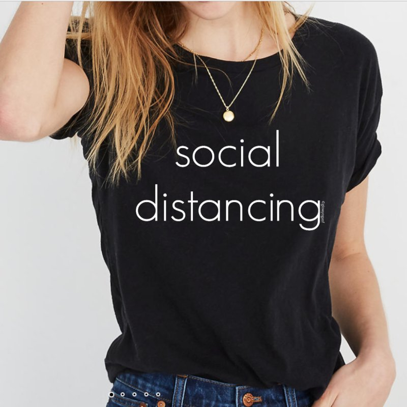 Social Distancing W in Women's Triblend T-Shirt Heather Onyx by Glow-Getters Store