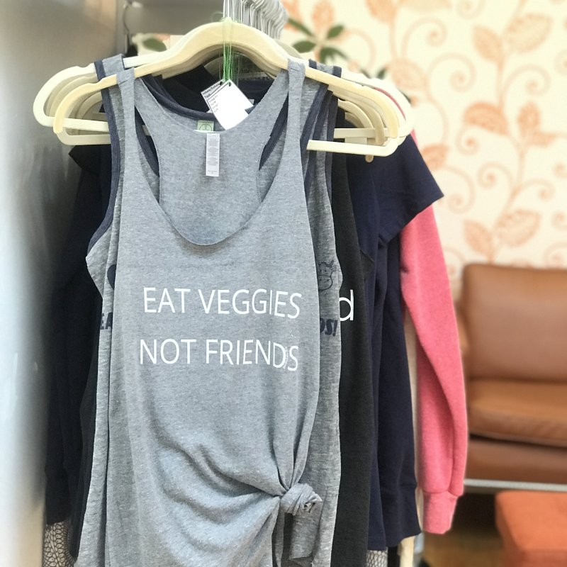 Eat Veggies not Friends in Women's Racerback Triblend Tank Heather White by Glow-Getters Store