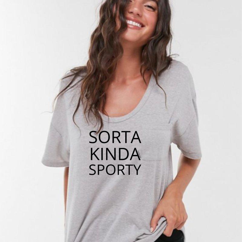 Sorta Kinda Sporty in Women's Triblend T-Shirt Heather White by Glow-Getters Store