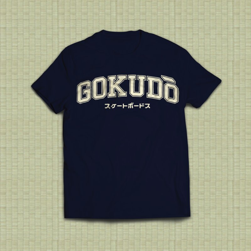 Gokudō Varsity Cornsilk in Men's Heavyweight T-Shirt Navy by Gokuten