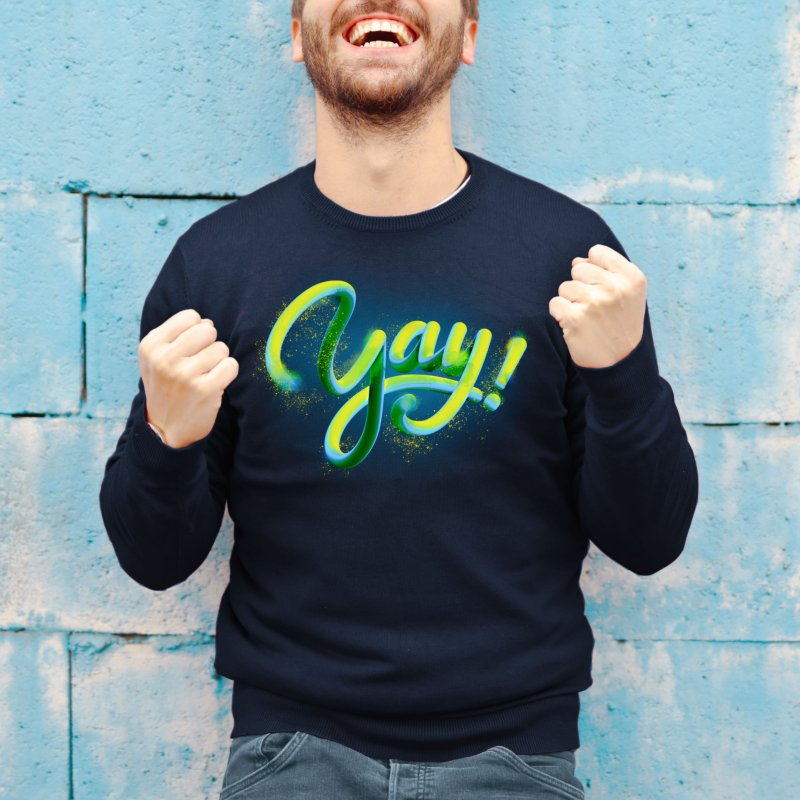 Yay! in Men's French Terry Sweatshirt Navy by GRAFIXD'S SHOP