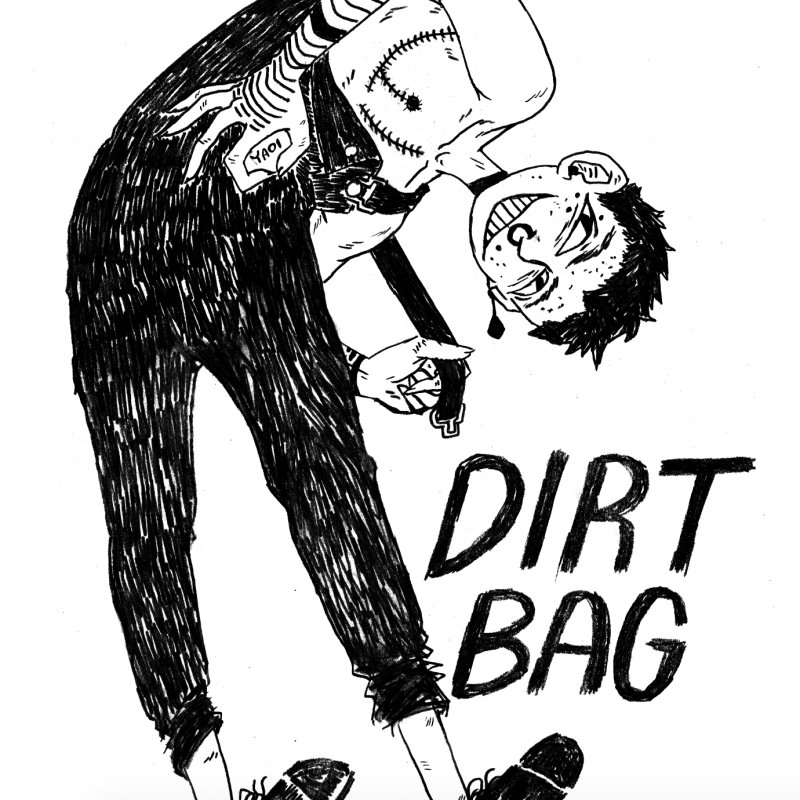DIRT BAG in Men's Heavyweight T-Shirt White by HIGU ROSE