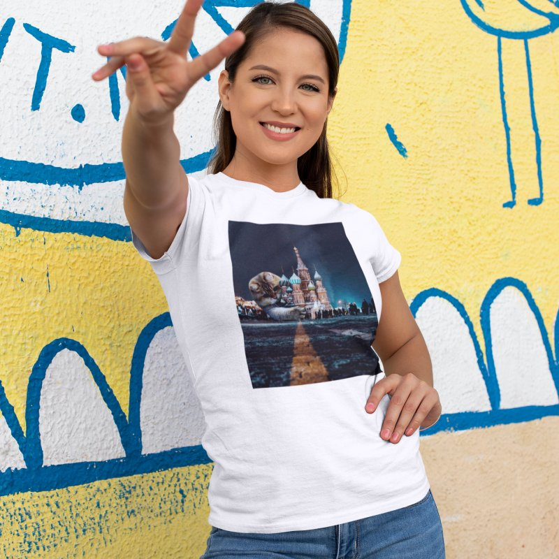 Saint Basil's Cathedral and Hosico in Women's Fitted T-Shirt White by Hosico's Shop