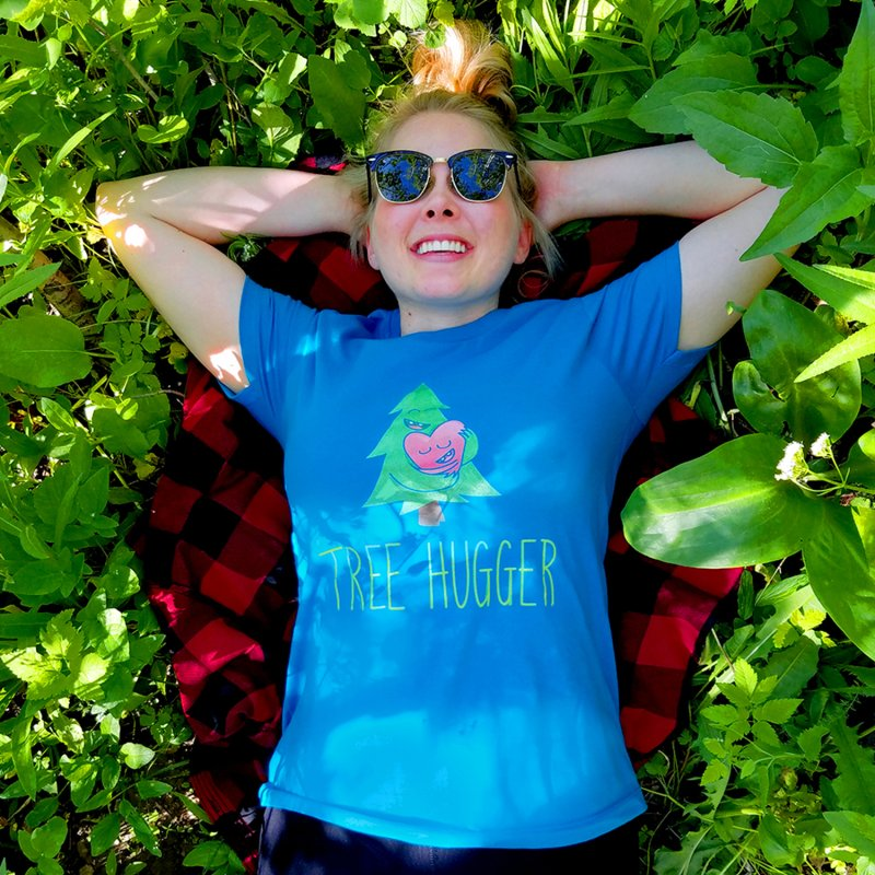 TREE HUGGER in Women's Fitted T-Shirt Turquoise by iCKY the Great's Artist Shop
