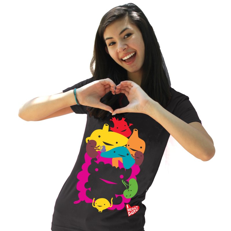 Life Takes Guts in Women's Fitted T-Shirt Black by I Heart Guts