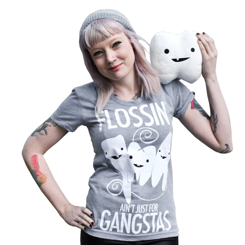 Tooth - Flossin' Ain't Just For Gangstas in Women's Triblend T-shirt Grey Triblend by I Heart Guts