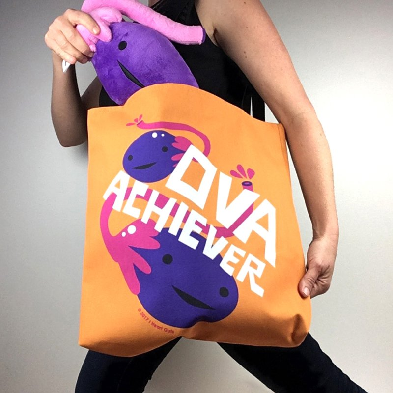 Ova Achiever - Ovary in Tote Bag by I Heart Guts