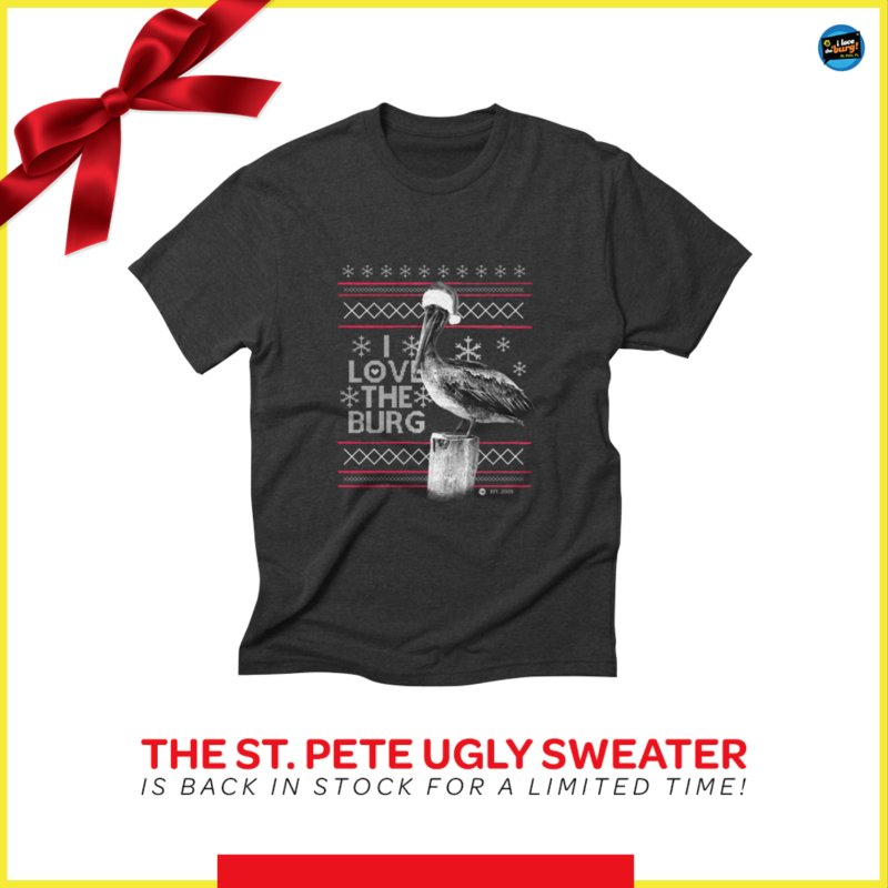 The St. Pete Ugly Sweater in Men's Extra Soft T-Shirt Black by I Love the Burg Swag