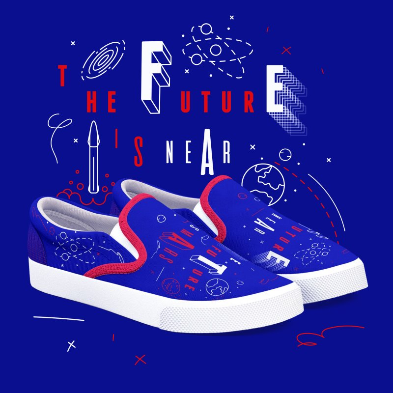 The Future is Mars in Men's Slip-On Shoes by Jana Artist Shop