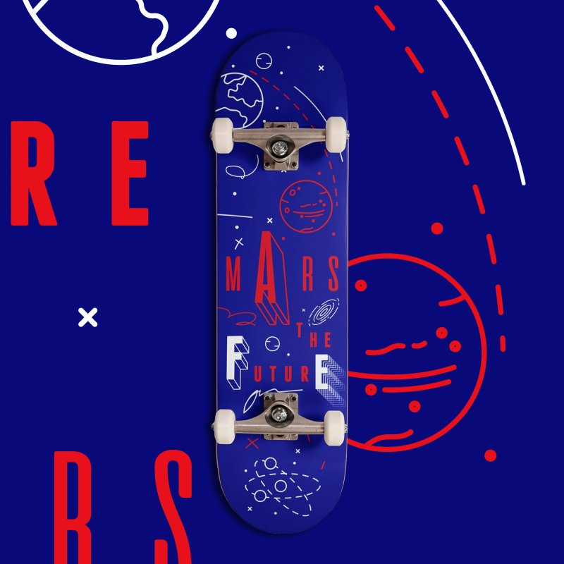 The Future is Mars in Deck Only Skateboard by Jana Artist Shop