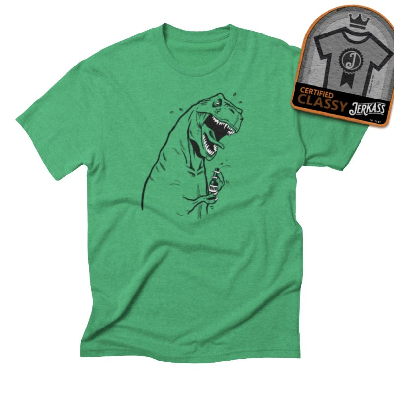 T-Rex with a Drinking Problem in Men's Triblend T-Shirt Tri-Kelly by Jerkass